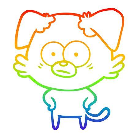 rainbow gradient line drawing of a nervous dog cartoon Standard-Bild - 130517384