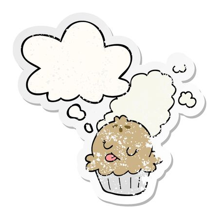 cute cartoon pie with thought bubble as a distressed worn sticker Standard-Bild - 130500681