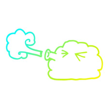 cold gradient line drawing of a cartoon cloud blowing a gale Illustration