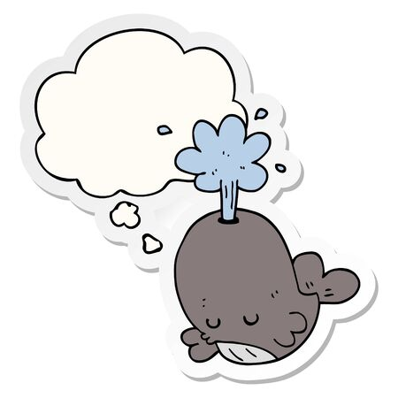 cartoon spouting whale with thought bubble as a printed sticker