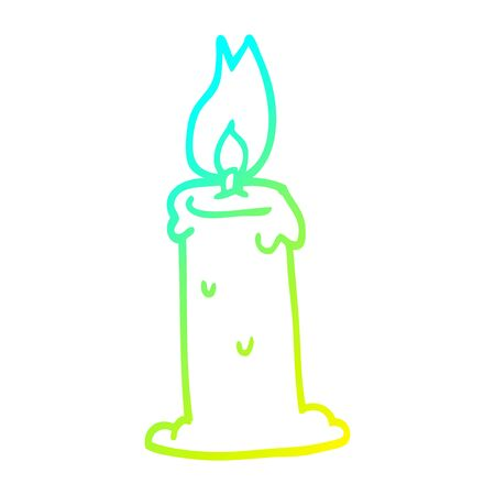 cold gradient line drawing of a cartoon burning candle
