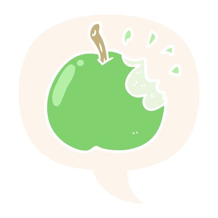 cartoon fresh bitten apple with speech bubble in retro style