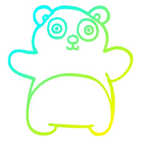 cold gradient line drawing of a cartoon happy panda Illustration