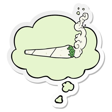cartoon marijuana joint with thought bubble as a printed sticker