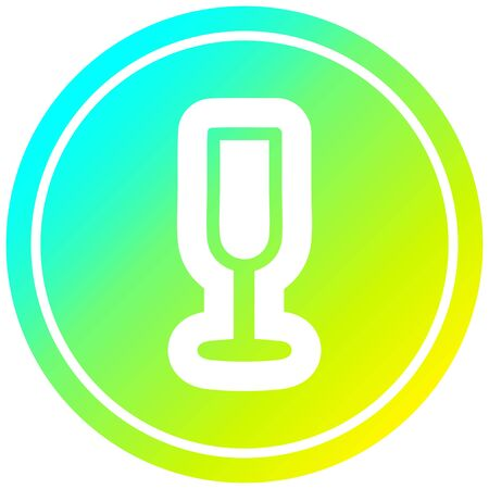 champagne flute circular icon with cool gradient finish