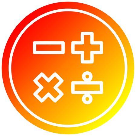 math with warm gradient finishs circular icon with warm gradient finish Illustration