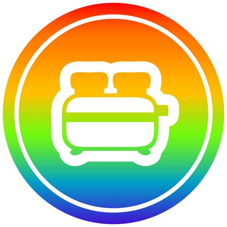 burnt toast circular icon with rainbow gradient finish