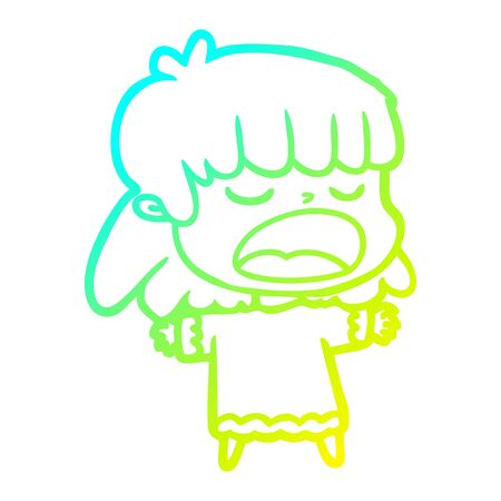 cold gradient line drawing of a cartoon woman talking loudly 向量圖像