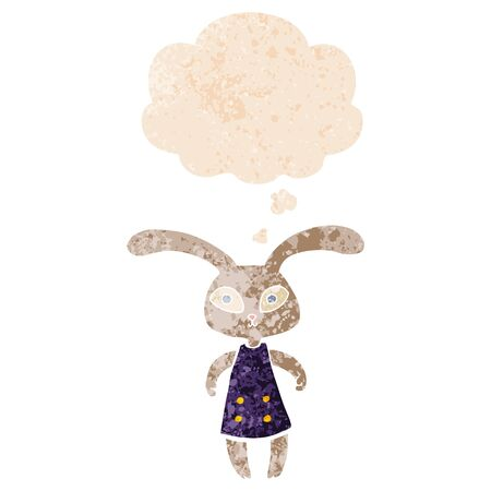 cute cartoon rabbit with thought bubble in grunge distressed retro textured style