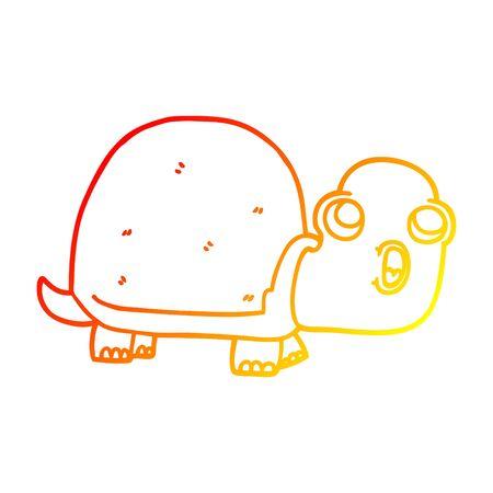 warm gradient line drawing of a cartoon shocked turtle Stock Illustratie