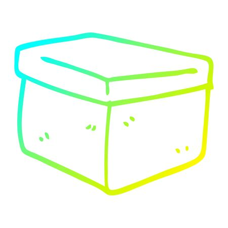 cold gradient line drawing of a cartoon office filing box
