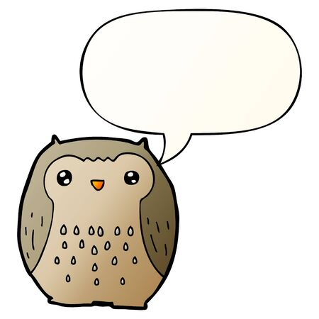 cute cartoon owl with speech bubble in smooth gradient style