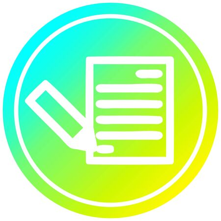 document and pencil circular icon with cool gradient finish 일러스트