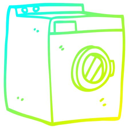 cold gradient line drawing of a cartoon washing machine  イラスト・ベクター素材