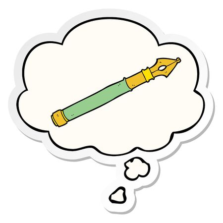 cartoon fountain pen with thought bubble as a printed sticker Reklamní fotografie - 130517823