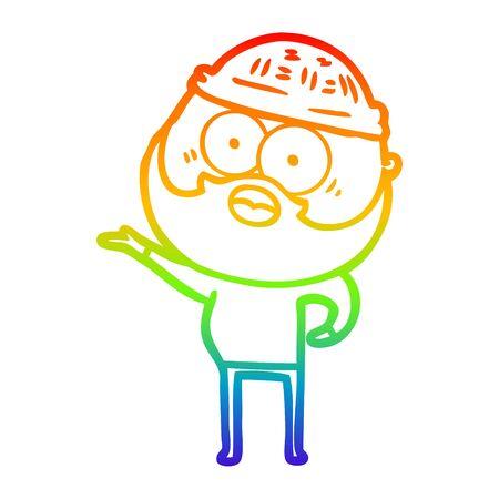 rainbow gradient line drawing of a cartoon surprised bearded man