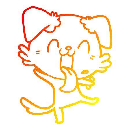 warm gradient line drawing of a cartoon panting dog Standard-Bild - 130517662