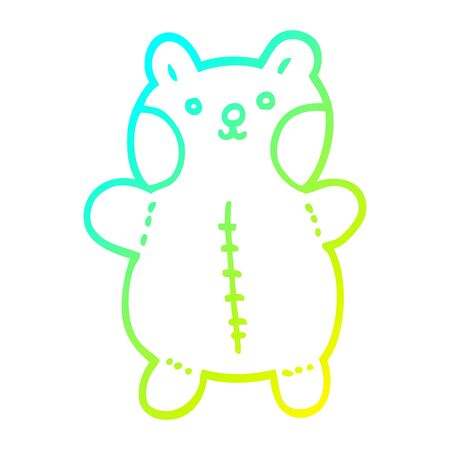cold gradient line drawing of a cartoon teddy bear