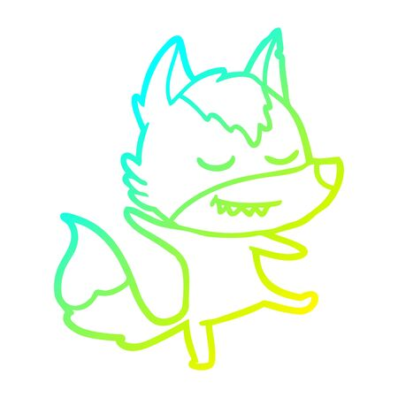 cold gradient line drawing of a friendly cartoon wolf balancing