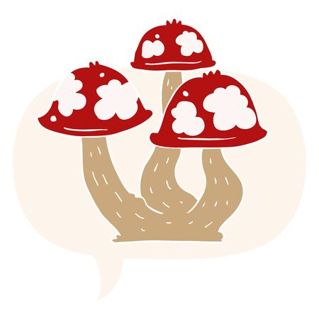 cartoon mushrooms with speech bubble in retro style