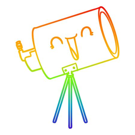rainbow gradient line drawing of a cartoon telescope with face Ilustrace