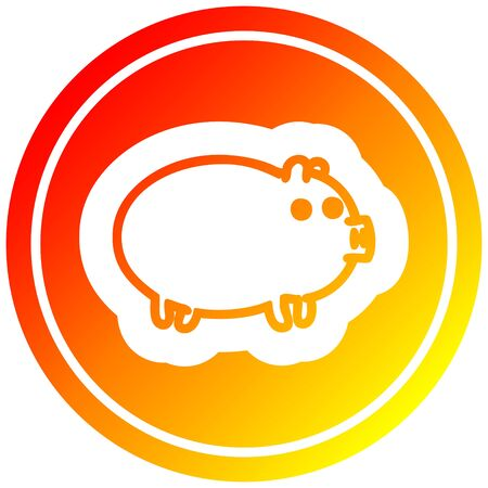 fat pig circular icon with warm gradient finish