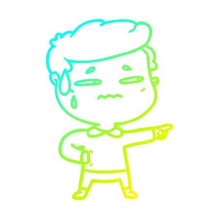 cold gradient line drawing of a cartoon anxious man pointing