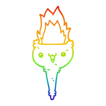 rainbow gradient line drawing of a cartoon flaming chalice