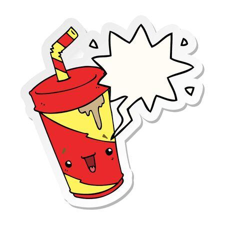 cute cartoon soda with speech bubble sticker  イラスト・ベクター素材