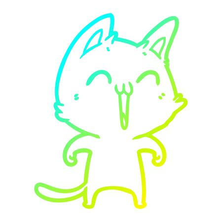 cold gradient line drawing of a happy cartoon cat meowing