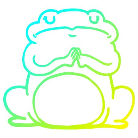 cold gradient line drawing of a cartoon arrogant frog