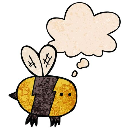 cartoon bee with thought bubble in grunge texture style