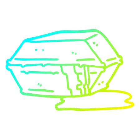 cold gradient line drawing of a cartoon greasy take out food