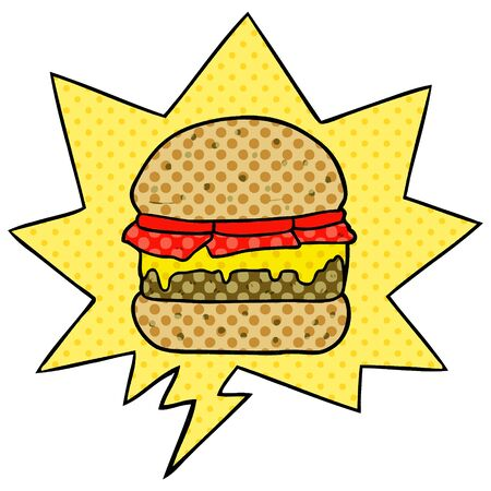 cartoon stacked burger with speech bubble in comic book style Ilustração