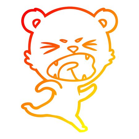 warm gradient line drawing of a angry cartoon bear
