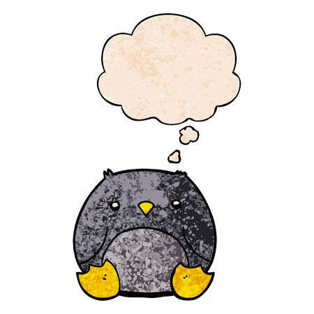 cartoon penguin with thought bubble in grunge texture style