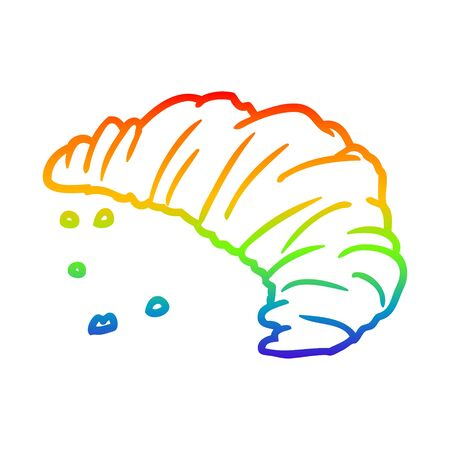 rainbow gradient line drawing of a croissant 向量圖像