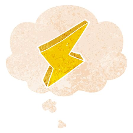 cartoon lightning with thought bubble in grunge distressed retro textured style Ilustração