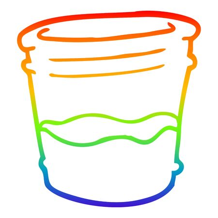 rainbow gradient line drawing of a cartoon glass of drink Illustration