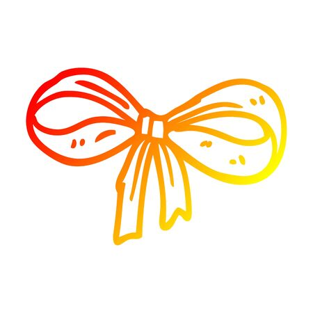 warm gradient line drawing of a cartoon tied bow
