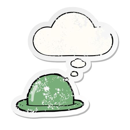 cartoon bowler hat with thought bubble as a distressed worn sticker