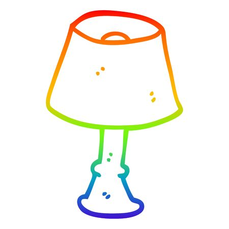rainbow gradient line drawing of a cartoon regular lamp