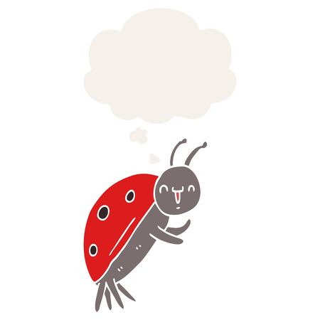 cute cartoon ladybug with thought bubble in retro style