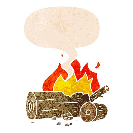 cartoon camp fire with speech bubble in grunge distressed retro textured style