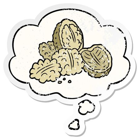 cartoon walnuts with thought bubble as a distressed worn sticker Banque d'images - 130563886