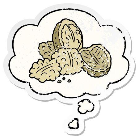 cartoon walnuts with thought bubble as a distressed worn sticker Ilustração