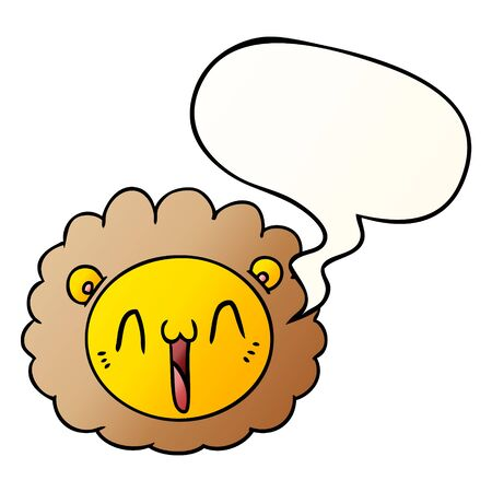 cartoon lion face with speech bubble in smooth gradient style