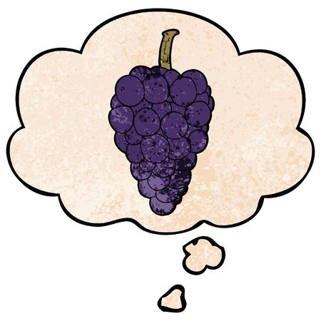 cartoon grapes with thought bubble in grunge texture style Ilustração