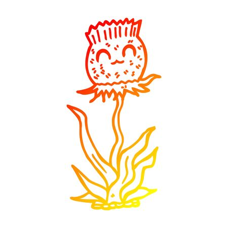 warm gradient line drawing of a cartoon thistle