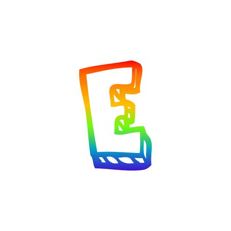 rainbow gradient line drawing of a cartoon letter e